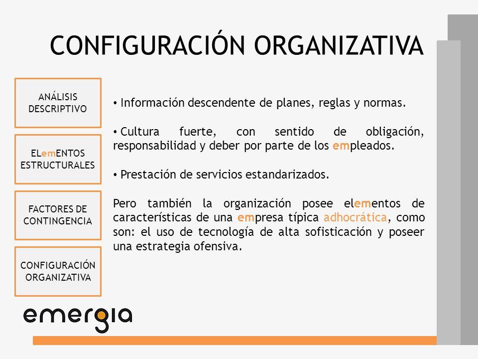 ELemENTOS ESTRUCTURALES FACTORES DE CONTINGENCIA CONFIGURACIÓN ORGANIZATIVA ANÁLISIS DESCRIPTIVO CONFIGURACIÓN ORGANIZATIVA emERGIA es eminentemente u