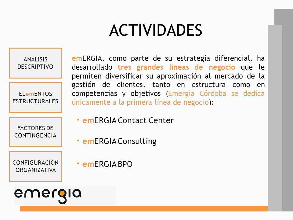 ELemENTOS ESTRUCTURALES FACTORES DE CONTINGENCIA CONFIGURACIÓN ORGANIZATIVA ANÁLISIS DESCRIPTIVO ACTIVIDADES emERGIA, como parte de su estrategia diferencial, ha desarrollado tres grandes líneas de negocio que le permiten diversificar su aproximación al mercado de la gestión de clientes, tanto en estructura como en competencias y objetivos (Emergia Córdoba se dedica únicamente a la primera línea de negocio): · emERGIA Contact Center · emERGIA Consulting · emERGIA BPO