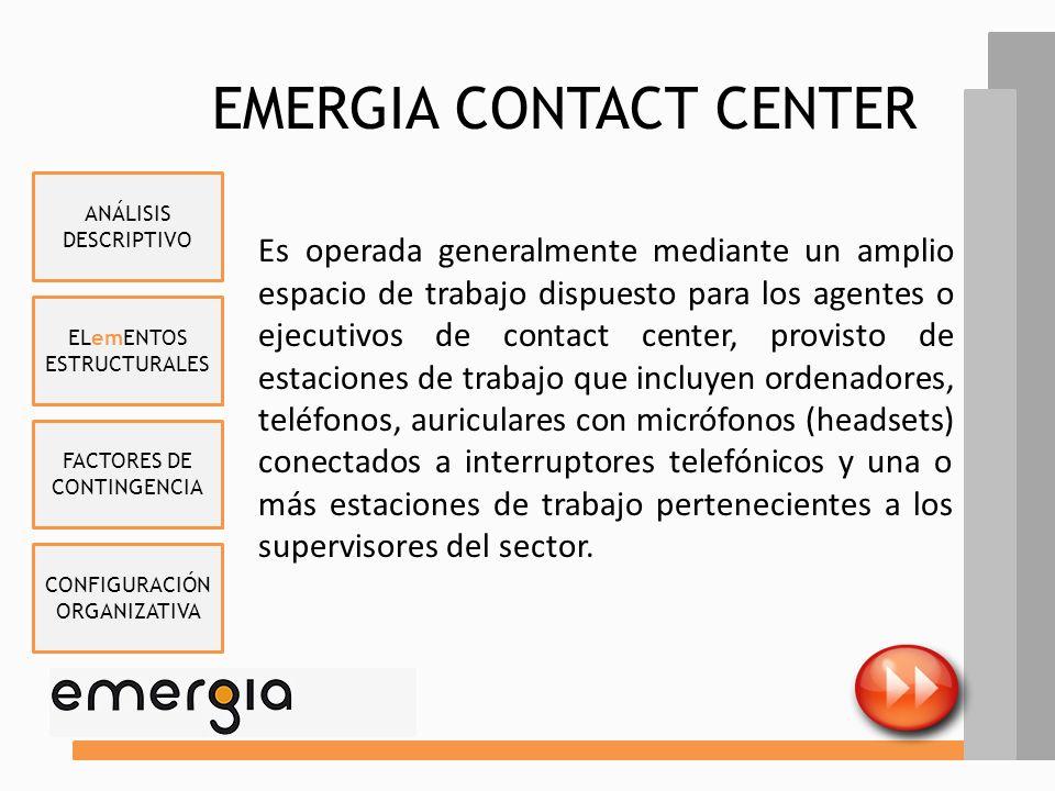ELemENTOS ESTRUCTURALES FACTORES DE CONTINGENCIA CONFIGURACIÓN ORGANIZATIVA ANÁLISIS DESCRIPTIVO ACTIVIDADES emERGIA, como parte de su estrategia dife