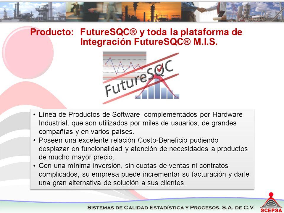 SCEPSA Producto: FutureSQC® y toda la plataforma de Integración FutureSQC® M.I.S. Línea de Productos de Software complementados por Hardware Industria