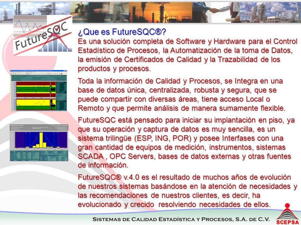 SCEPSA ¿Que es FutureSQC®? Es una solución completa de Software y Hardware para el Control Estadístico de Procesos, la Automatización de la toma de Da