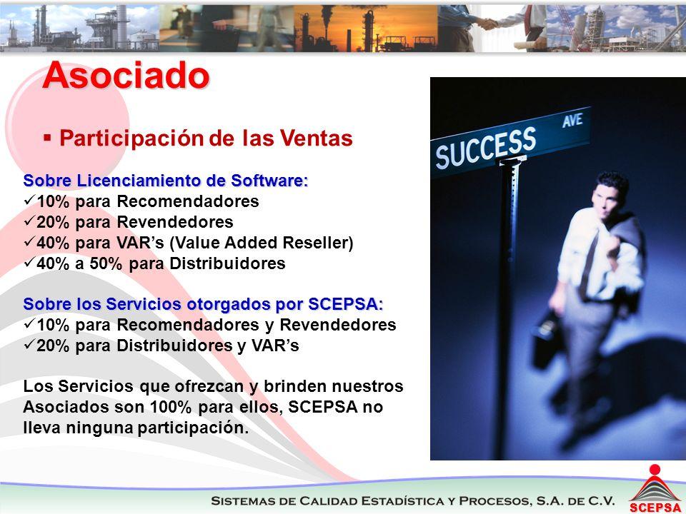 SCEPSA Asociado Participación de las Ventas Sobre Licenciamiento de Software: 10% para Recomendadores 20% para Revendedores 40% para VARs (Value Added