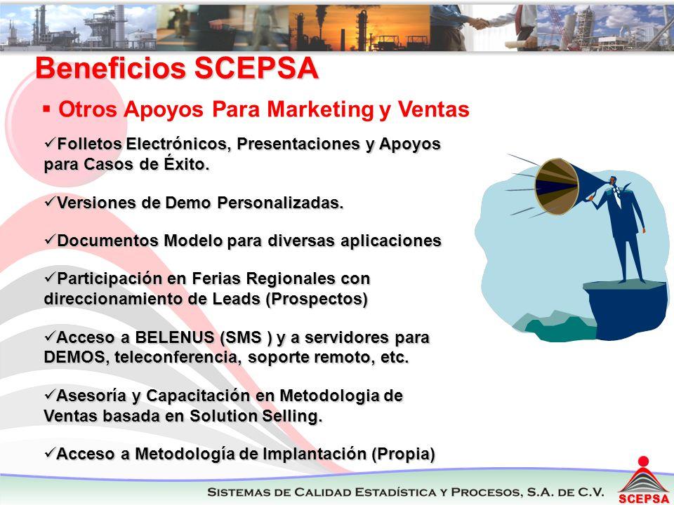 SCEPSA Beneficios SCEPSA Otros Apoyos Para Marketing y Ventas Folletos Electrónicos, Presentaciones y Apoyos para Casos de Éxito. Folletos Electrónico