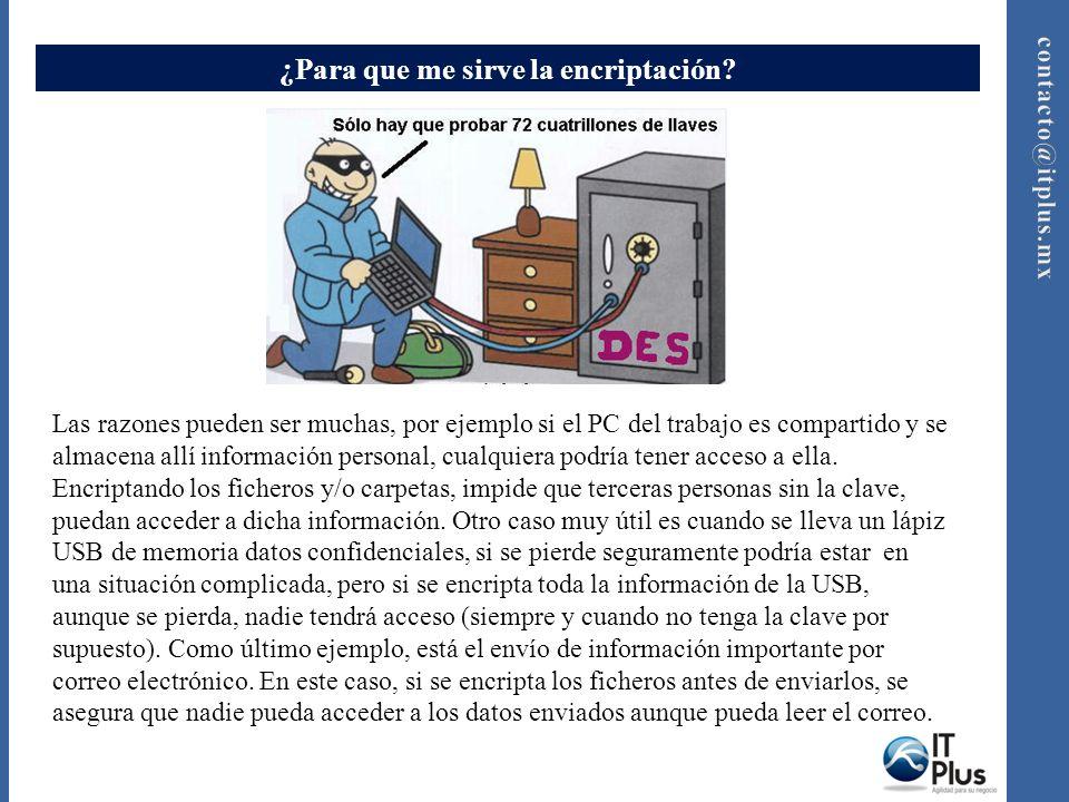 ¿Para que me sirve la encriptación? Las razones pueden ser muchas, por ejemplo si el PC del trabajo es compartido y se almacena allí información perso