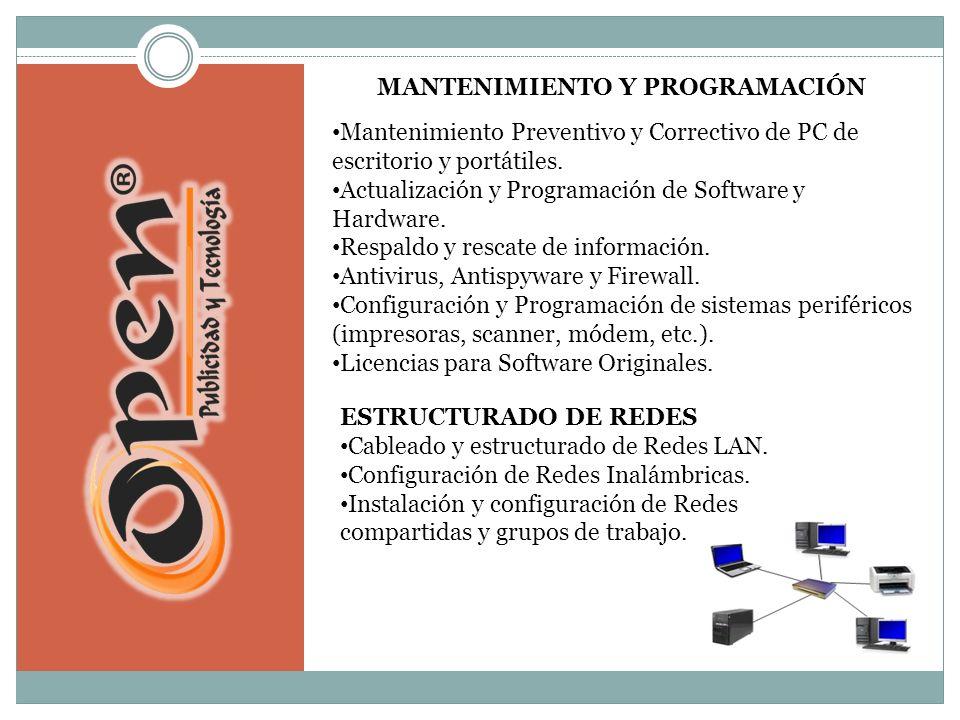 Mantenimiento Preventivo y Correctivo de PC de escritorio y portátiles.