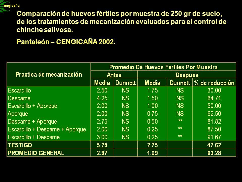 Comparación de huevos fértiles por muestra de 250 gr de suelo, de los tratamientos de mecanización evaluados para el control de chinche salivosa. Pant