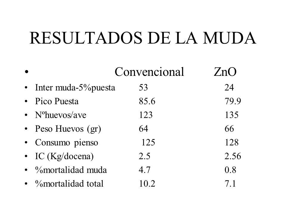 RESULTADOS DE LA MUDA Convencional ZnO Inter muda-5%puesta5324 Pico Puesta85.679.9 Nºhuevos/ave123135 Peso Huevos (gr)6466 Consumo pienso 125128 IC (K