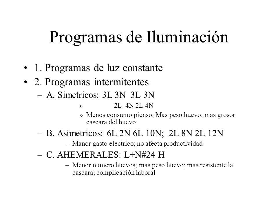 Programas de Iluminación 1. Programas de luz constante 2. Programas intermitentes –A. Simetricos: 3L 3N 3L 3N » 2L 4N 2L 4N »Menos consumo pienso; Mas