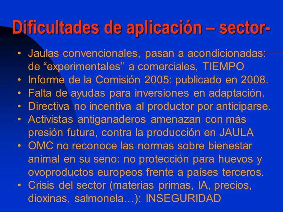 Dificultades de aplicación -coyuntura económico-financiera- lNCERTIDUMBRE Sector muy intensivo en capital: 600 millones para la adaptación en España Amortización entre 15 y 20 años.