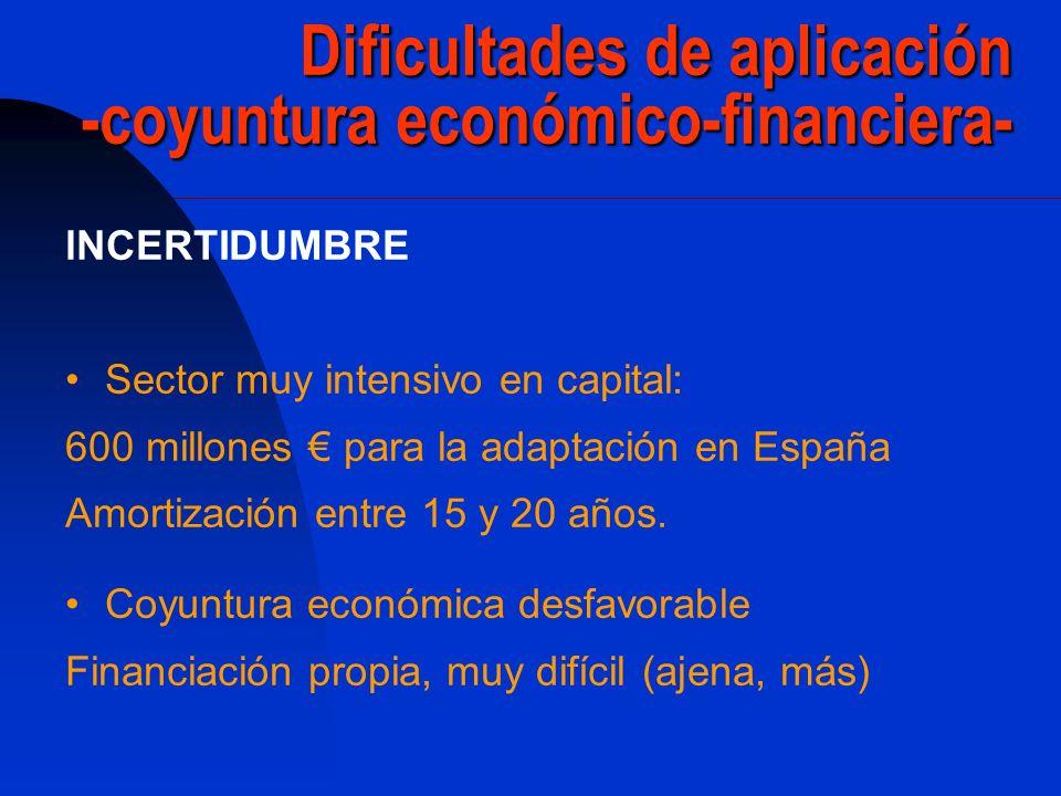 Dificultades de aplicación -coyuntura económico-financiera- lNCERTIDUMBRE Sector muy intensivo en capital: 600 millones para la adaptación en España A