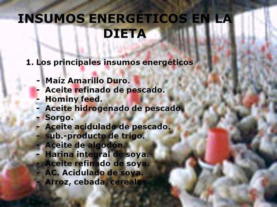 1.Los principales insumos energéticos - Maíz Amarillo Duro. - Aceite refinado de pescado. - Hominy feed. - Aceite hidrogenado de pescado. - Sorgo. - A