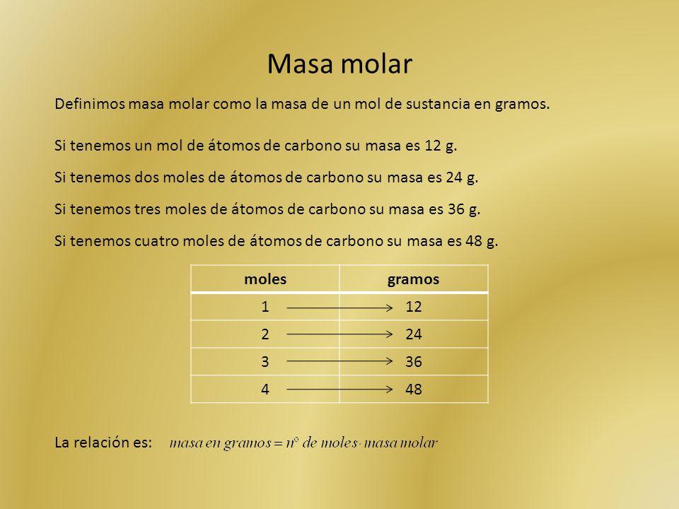 Masa molar Definimos masa molar como la masa de un mol de sustancia en gramos. Si tenemos un mol de átomos de carbono su masa es 12 g. Si tenemos dos