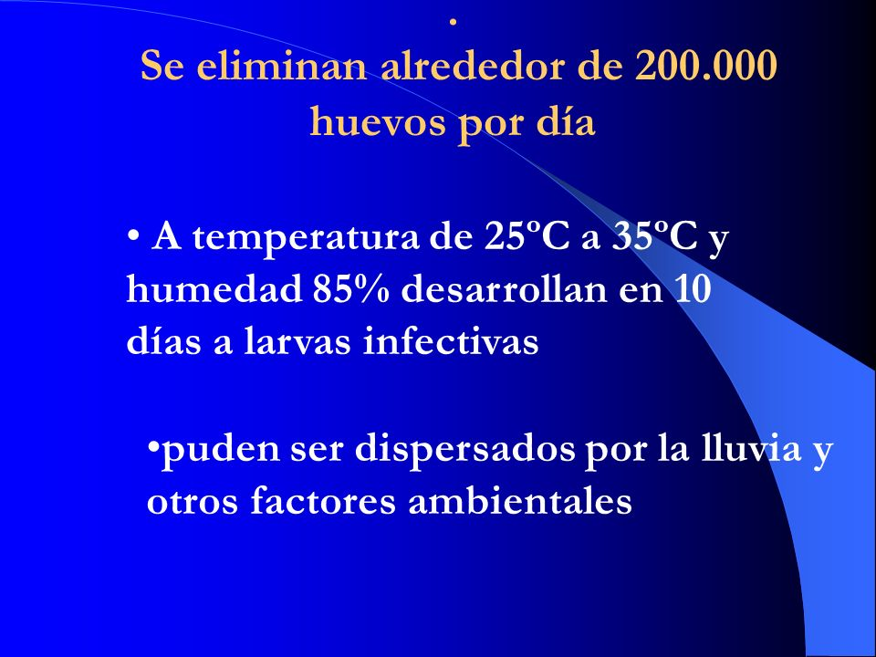 . Se eliminan alrededor de 200.000 huevos por día A temperatura de 25ºC a 35ºC y humedad 85% desarrollan en 10 días a larvas infectivas puden ser dispersados por la lluvia y otros factores ambientales