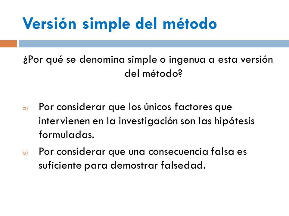 Versión simple del método ¿Por qué se denomina simple o ingenua a esta versión del método? a) Por considerar que los únicos factores que intervienen e