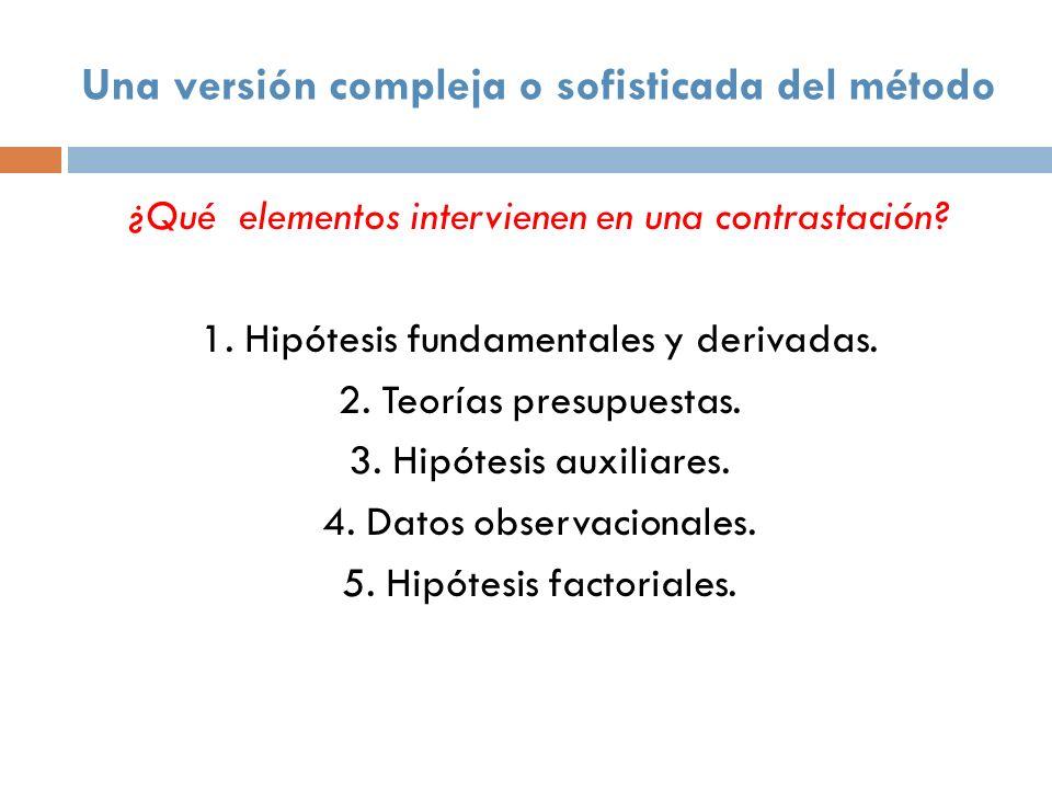 Una versión compleja o sofisticada del método ¿Qué elementos intervienen en una contrastación? 1. Hipótesis fundamentales y derivadas. 2. Teorías pres