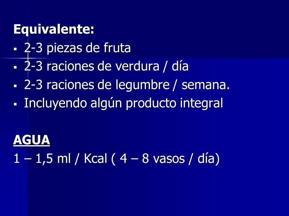 Equivalente: 2-3 piezas de fruta 2-3 piezas de fruta 2-3 raciones de verdura / día 2-3 raciones de verdura / día 2-3 raciones de legumbre / semana. 2-