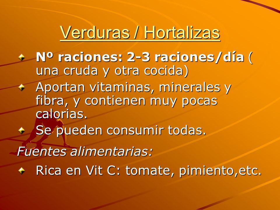 Verduras / Hortalizas Nº raciones: 2-3 raciones/día ( una cruda y otra cocida) Aportan vitaminas, minerales y fibra, y contienen muy pocas calorias. S