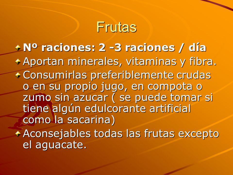 Frutas Nº raciones: 2 -3 raciones / día Aportan minerales, vitaminas y fibra. Consumirlas preferiblemente crudas o en su propio jugo, en compota o zum
