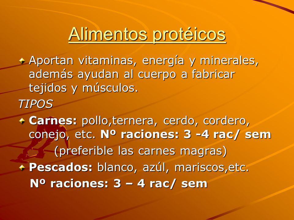 Alimentos protéicos Aportan vitaminas, energía y minerales, además ayudan al cuerpo a fabricar tejidos y músculos. TIPOS Carnes: pollo,ternera, cerdo,