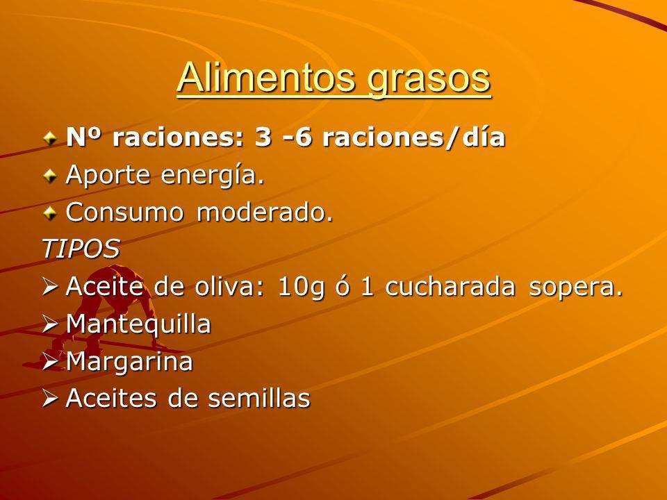 Alimentos grasos Nº raciones: 3 -6 raciones/día Aporte energía. Consumo moderado. TIPOS Aceite de oliva: 10g ó 1 cucharada sopera. Aceite de oliva: 10