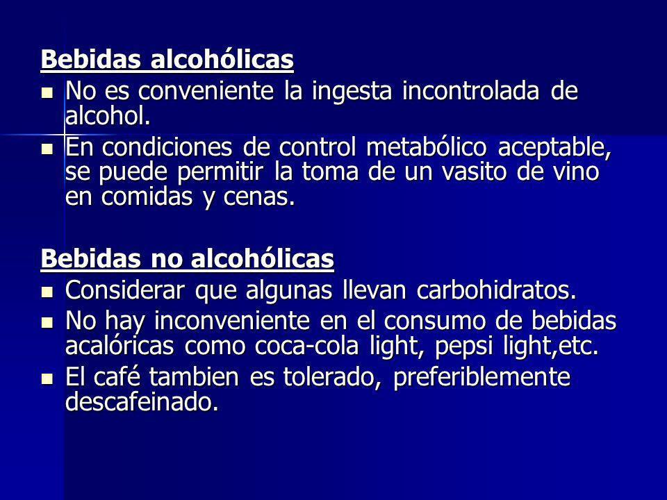 Bebidas alcohólicas No es conveniente la ingesta incontrolada de alcohol. No es conveniente la ingesta incontrolada de alcohol. En condiciones de cont