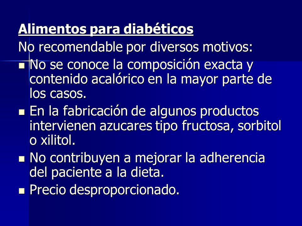 Alimentos para diabéticos No recomendable por diversos motivos: No se conoce la composición exacta y contenido acalórico en la mayor parte de los caso