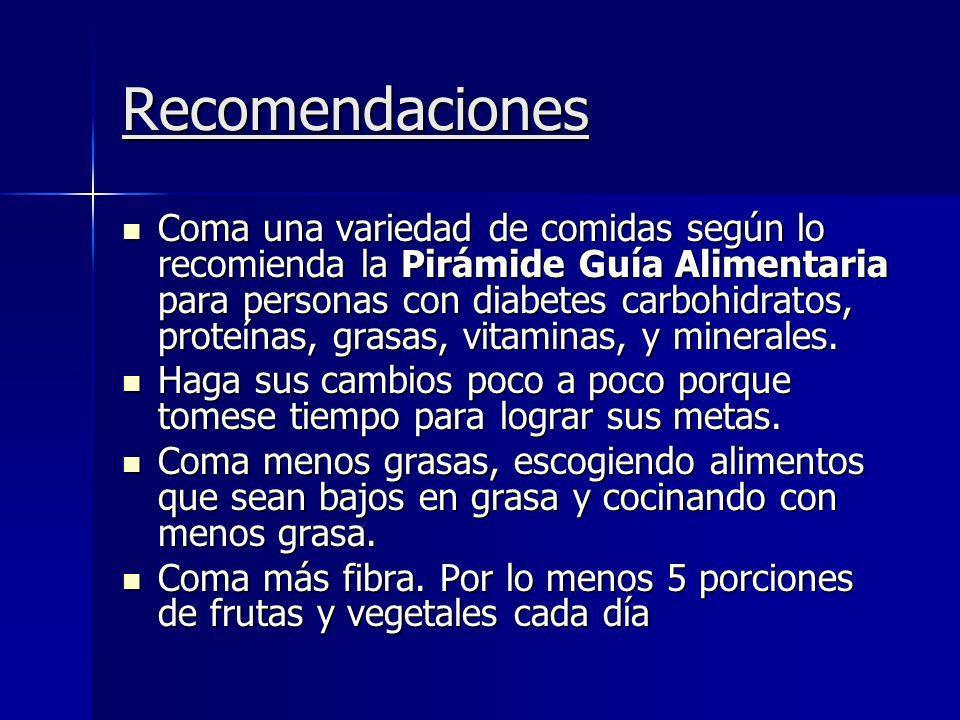 Recomendaciones Coma una variedad de comidas según lo recomienda la Pirámide Guía Alimentaria para personas con diabetes carbohidratos, proteínas, gra