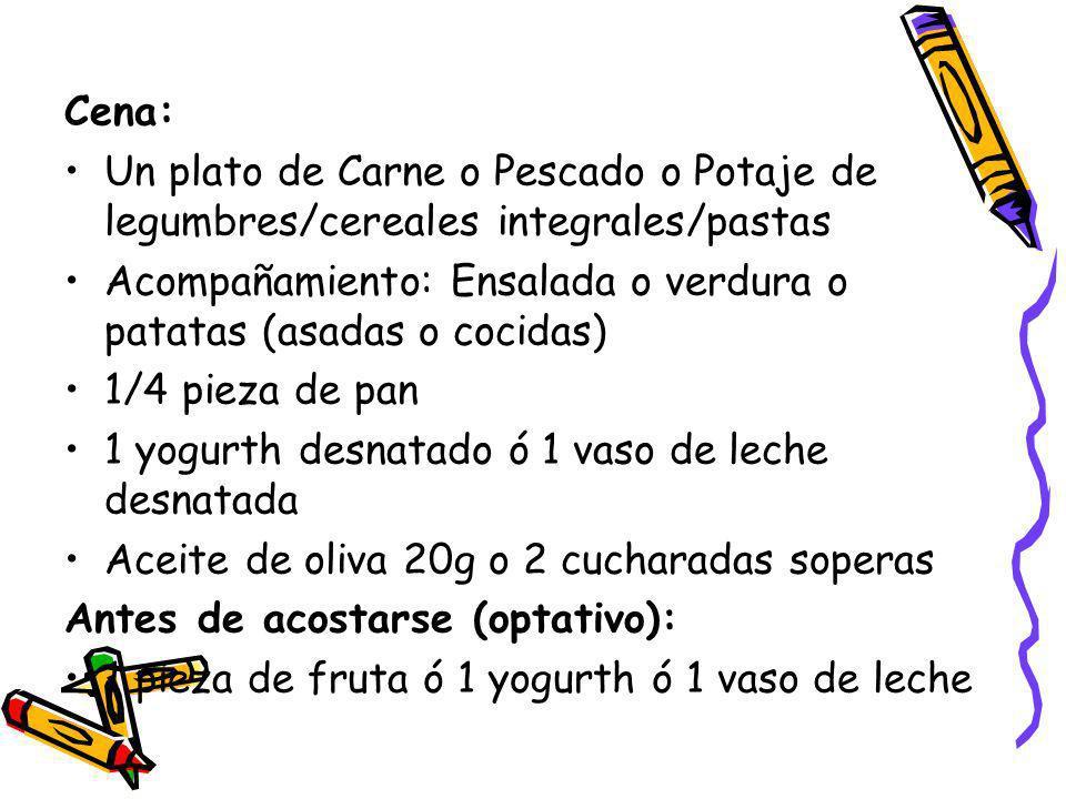 Cena: Un plato de Carne o Pescado o Potaje de legumbres/cereales integrales/pastas Acompañamiento: Ensalada o verdura o patatas (asadas o cocidas) 1/4