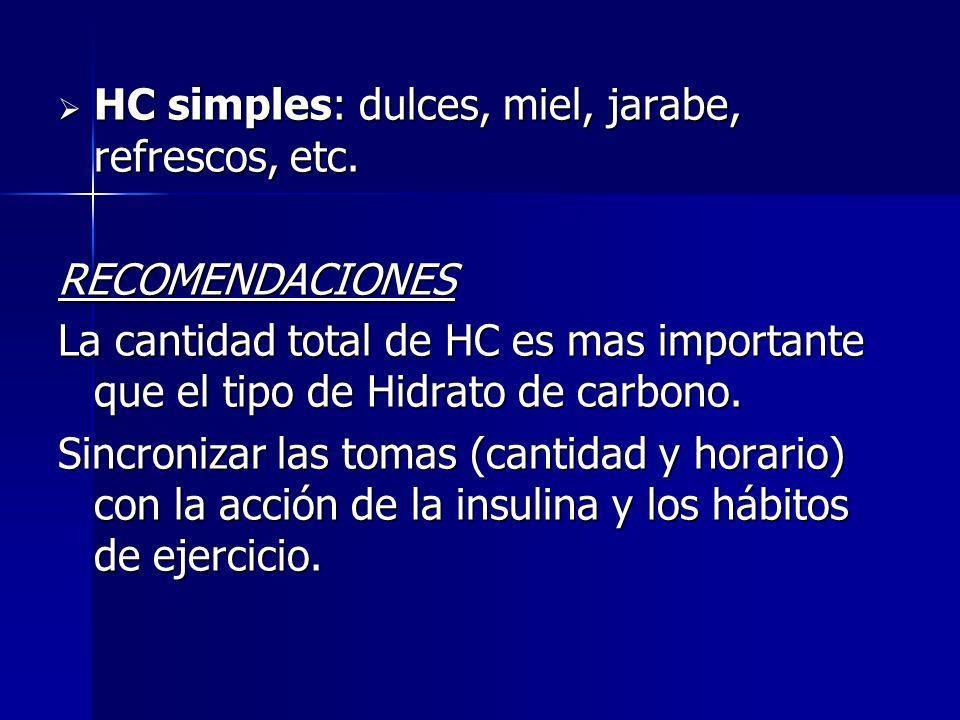 HC simples: dulces, miel, jarabe, refrescos, etc. HC simples: dulces, miel, jarabe, refrescos, etc.RECOMENDACIONES La cantidad total de HC es mas impo