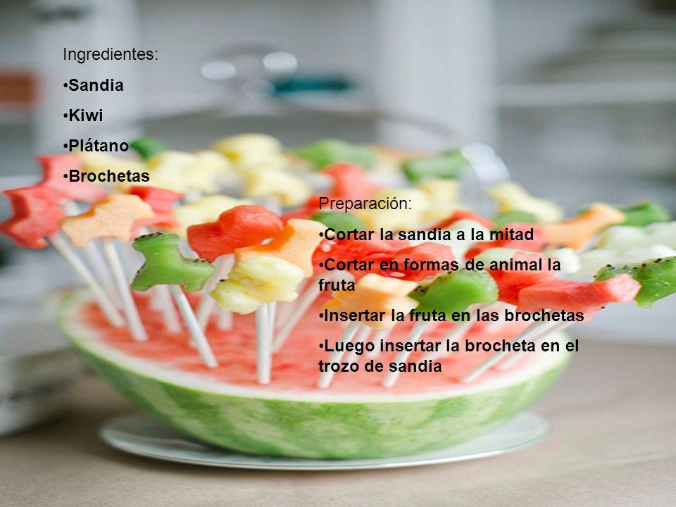 Ingredientes: Sandia Kiwi Plátano Brochetas Preparación: Cortar la sandia a la mitad Cortar en formas de animal la fruta Insertar la fruta en las brochetas Luego insertar la brocheta en el trozo de sandia