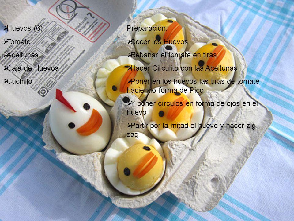 Huevos (6) Tomate Aceitunas Caja de Huevos Cuchillo Preparación: Cocer los Huevos Rebanar el tomate en tiras Hacer Circulito con las Aceitunas Poner en los huevos las tiras de tomate haciendo forma de Pico Y poner círculos en forma de ojos en el huevo Partir por la mitad el huevo y hacer zig- zag
