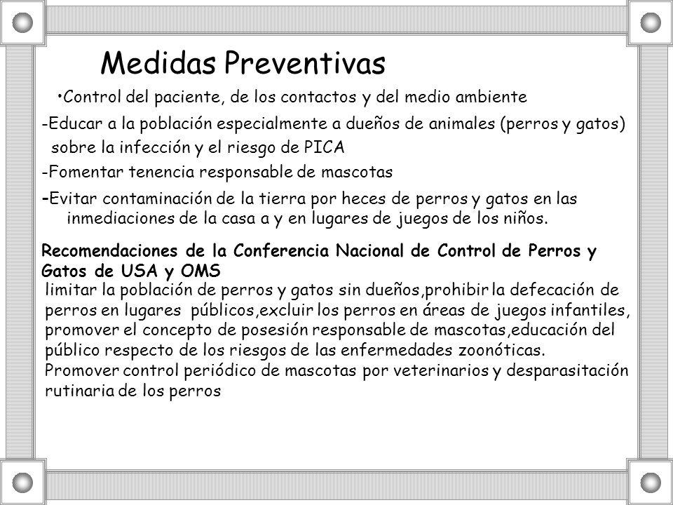 Medidas Preventivas -Educar a la población especialmente a dueños de animales (perros y gatos) sobre la infección y el riesgo de PICA -Fomentar tenenc