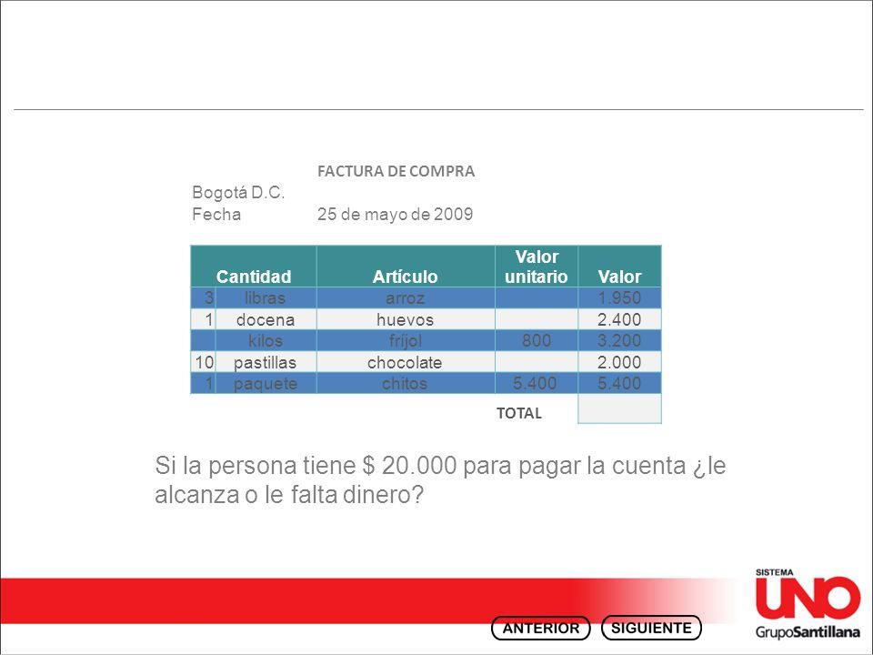 Si la persona tiene $ 20.000 para pagar la cuenta ¿le alcanza o le falta dinero? FACTURA DE COMPRA Bogotá D.C. Fecha25 de mayo de 2009 CantidadArtícul