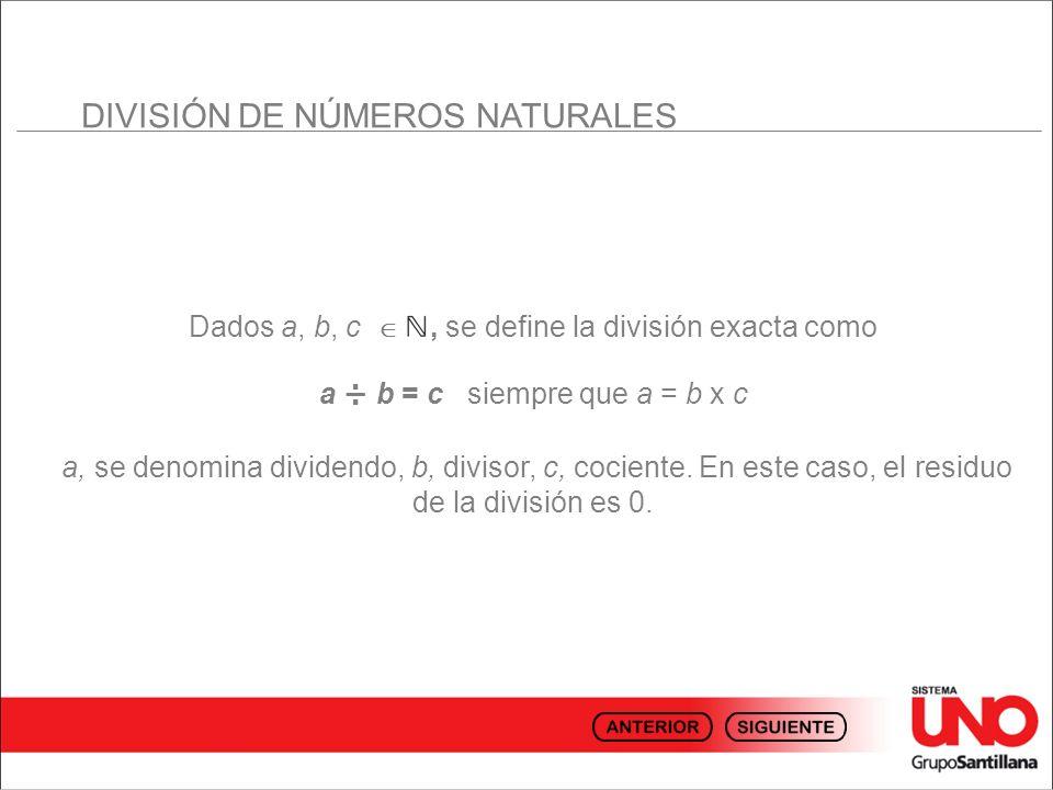 DIVISIÓN DE NÚMEROS NATURALES Dados a, b, c, se define la división exacta como a ÷ b = c siempre que a = b x c a, se denomina dividendo, b, divisor, c