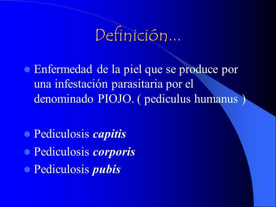Definición... Enfermedad de la piel que se produce por una infestación parasitaria por el denominado PIOJO. ( pediculus humanus ) Pediculosis capitis