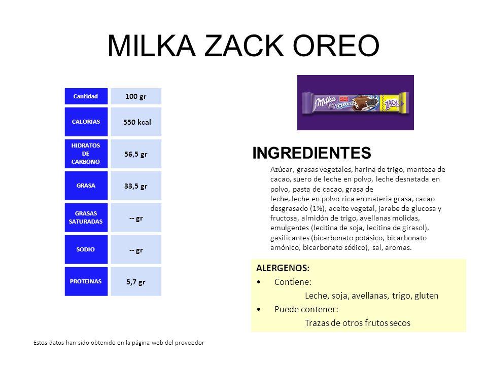MILKA ZACK OREO INGREDIENTES Azúcar, grasas vegetales, harina de trigo, manteca de cacao, suero de leche en polvo, leche desnatada en polvo, pasta de