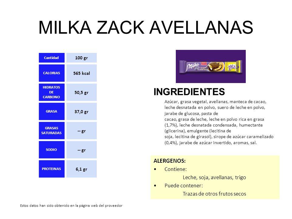 MILKA ZACK AVELLANAS INGREDIENTES Azúcar, grasa vegetal, avellanas, manteca de cacao, leche desnatada en polvo, suero de leche en polvo, jarabe de glu