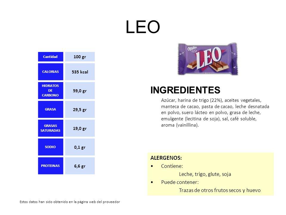 LEO INGREDIENTES Azúcar, harina de trigo (22%), aceites vegetales, manteca de cacao, pasta de cacao, leche desnatada en polvo, suero lácteo en polvo,