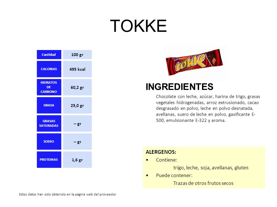TOKKE INGREDIENTES Chocolate con leche, azúcar, harina de trigo, grasas vegetales hidrogenadas, arroz extrusionado, cacao desgrasado en polvo, leche e