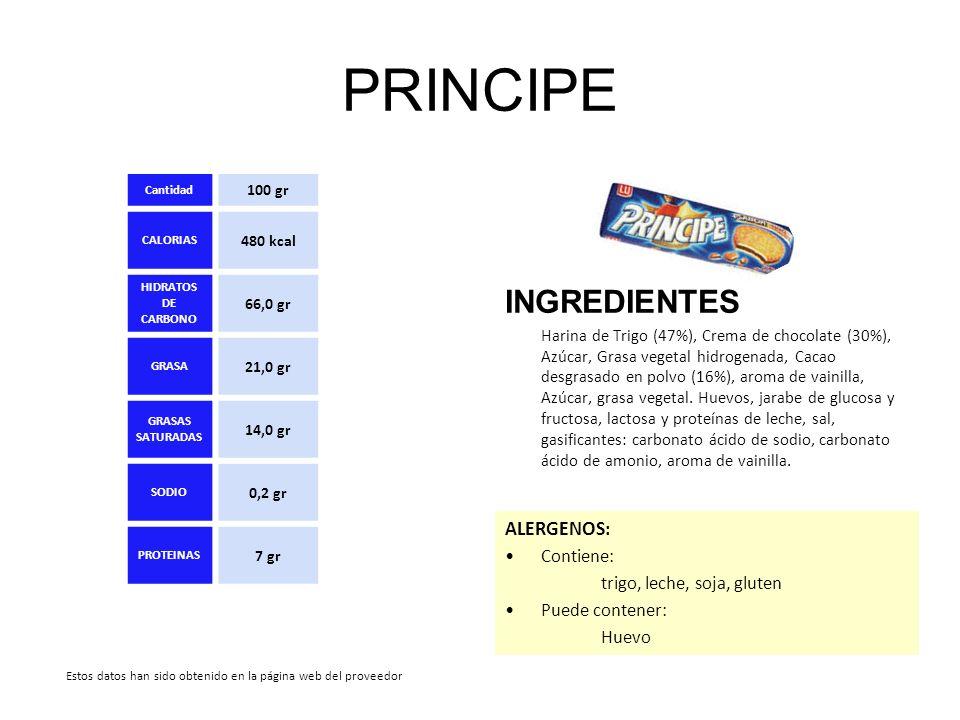 PRINCIPE INGREDIENTES Harina de Trigo (47%), Crema de chocolate (30%), Azúcar, Grasa vegetal hidrogenada, Cacao desgrasado en polvo (16%), aroma de va