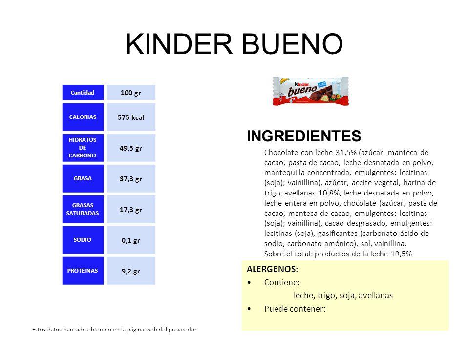 KINDER BUENO INGREDIENTES Chocolate con leche 31,5% (azúcar, manteca de cacao, pasta de cacao, leche desnatada en polvo, mantequilla concentrada, emul