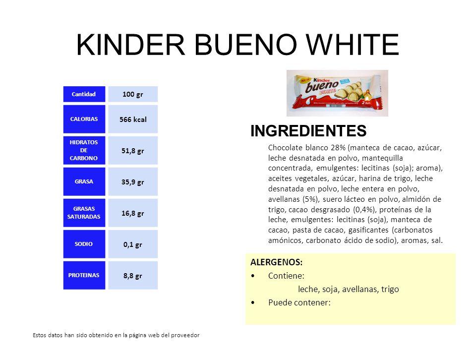 KINDER BUENO WHITE INGREDIENTES Chocolate blanco 28% (manteca de cacao, azúcar, leche desnatada en polvo, mantequilla concentrada, emulgentes: lecitin
