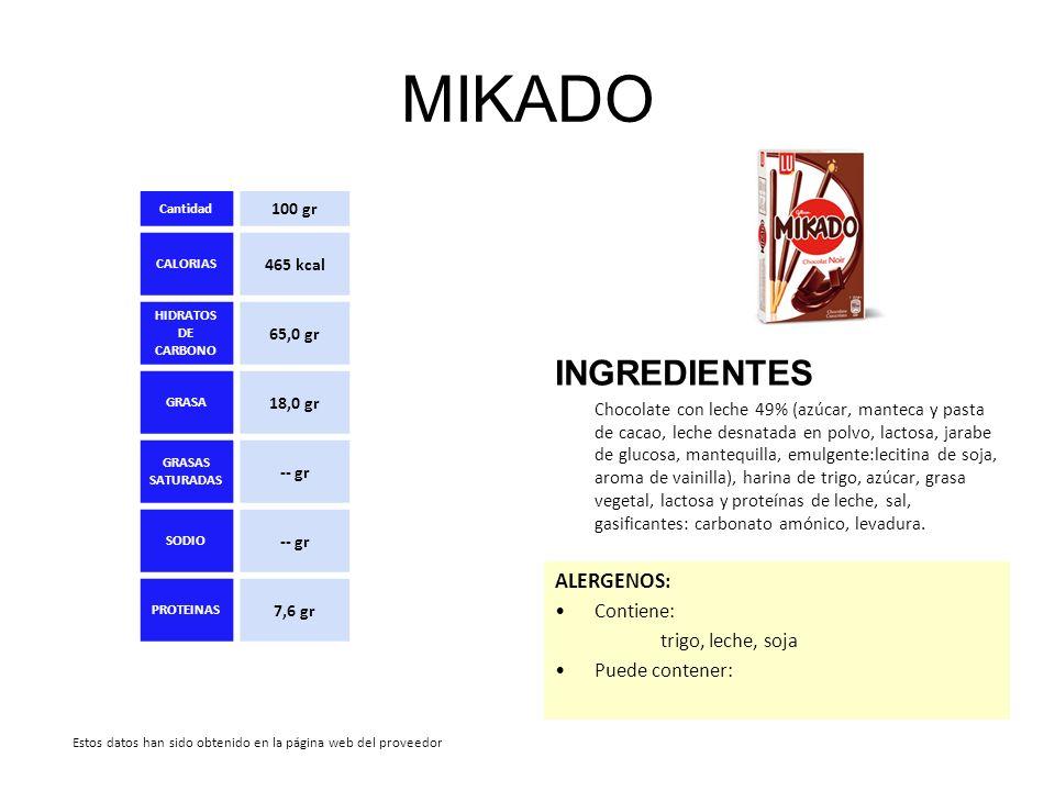 MIKADO INGREDIENTES Chocolate con leche 49% (azúcar, manteca y pasta de cacao, leche desnatada en polvo, lactosa, jarabe de glucosa, mantequilla, emul