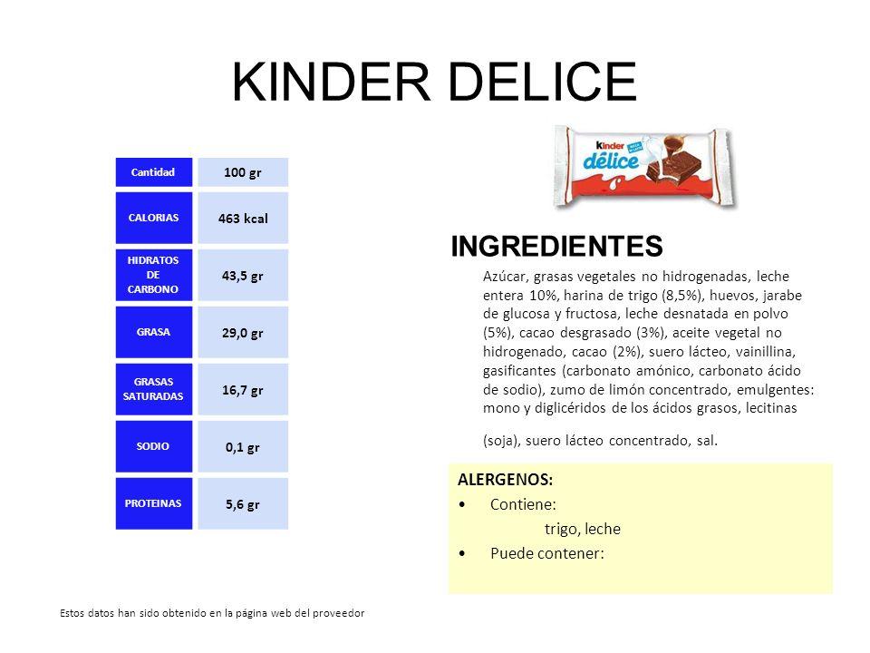 KINDER DELICE INGREDIENTES Azúcar, grasas vegetales no hidrogenadas, leche entera 10%, harina de trigo (8,5%), huevos, jarabe de glucosa y fructosa, l