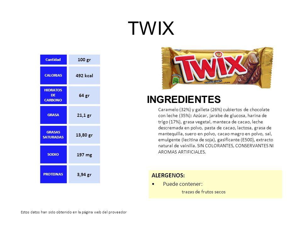 TWIX INGREDIENTES Caramelo (32%) y galleta (26%) cubiertos de chocolate con leche (35%): Azúcar, jarabe de glucosa, harina de trigo (17%), grasa veget