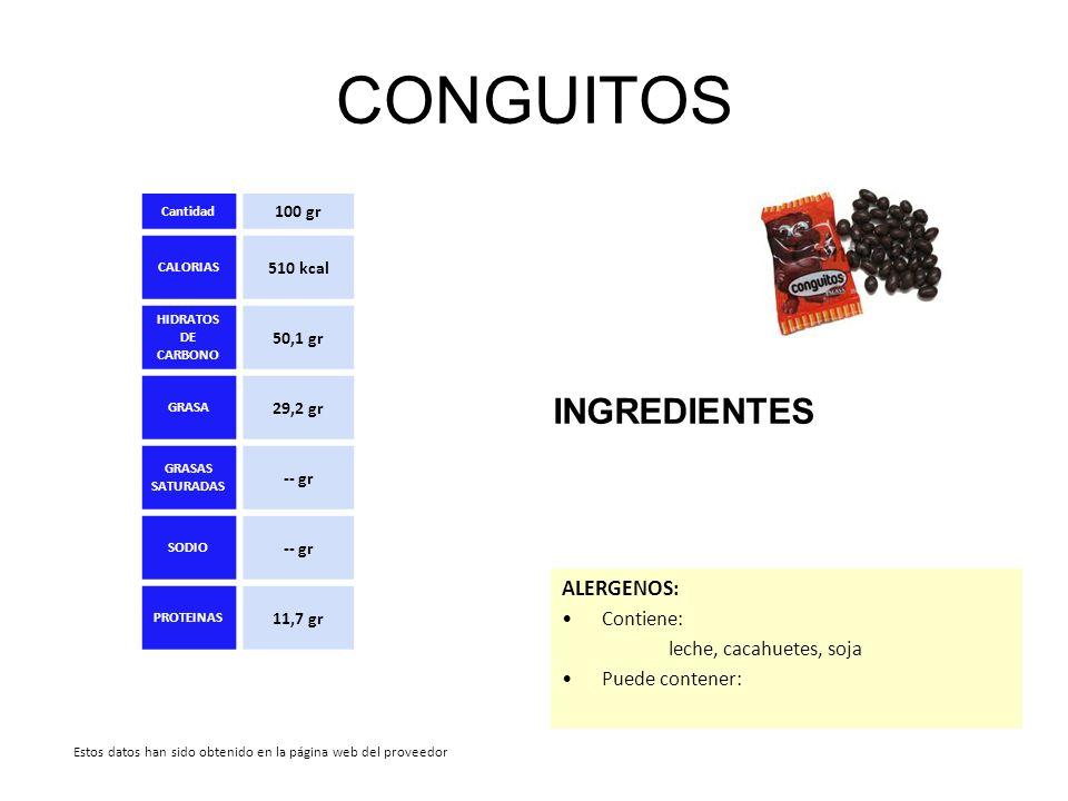 CONGUITOS INGREDIENTES Cantidad 100 gr CALORIAS 510 kcal HIDRATOS DE CARBONO 50,1 gr GRASA 29,2 gr GRASAS SATURADAS -- gr SODIO -- gr PROTEINAS 11,7 g