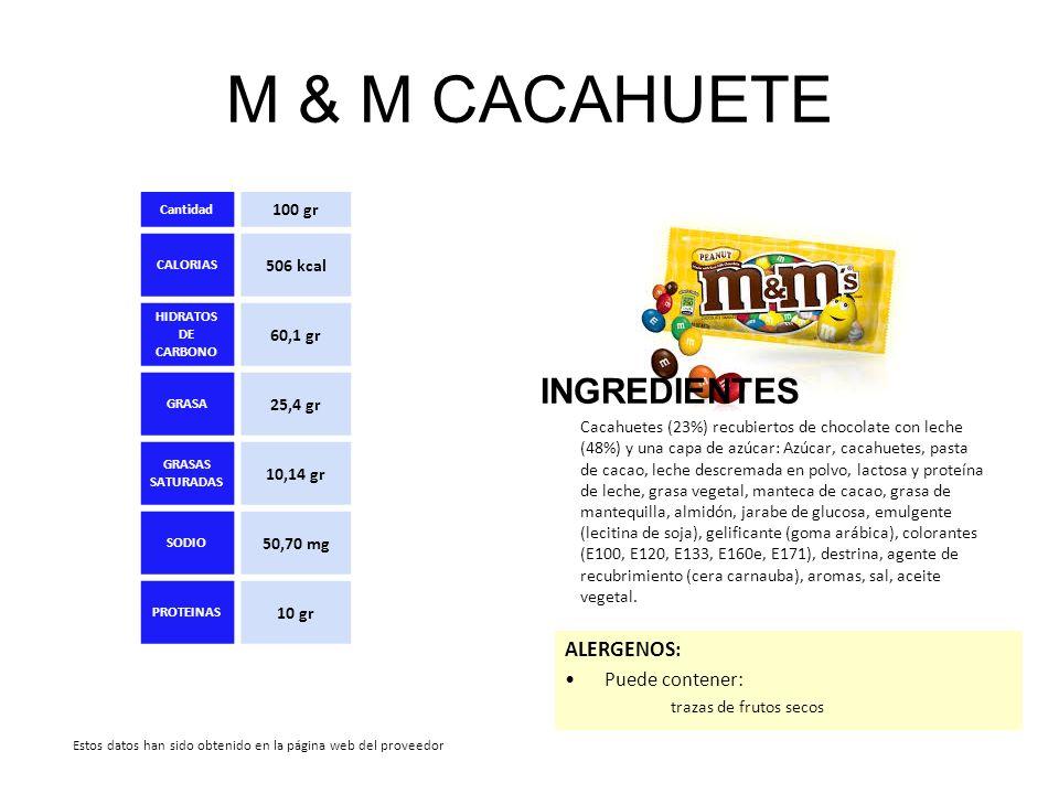 M & M CACAHUETE INGREDIENTES Cacahuetes (23%) recubiertos de chocolate con leche (48%) y una capa de azúcar: Azúcar, cacahuetes, pasta de cacao, leche