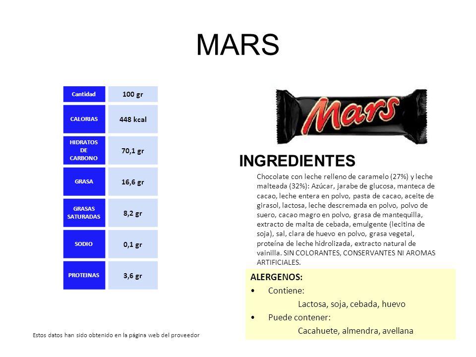 MARS INGREDIENTES Chocolate con leche relleno de caramelo (27%) y leche malteada (32%): Azúcar, jarabe de glucosa, manteca de cacao, leche entera en p
