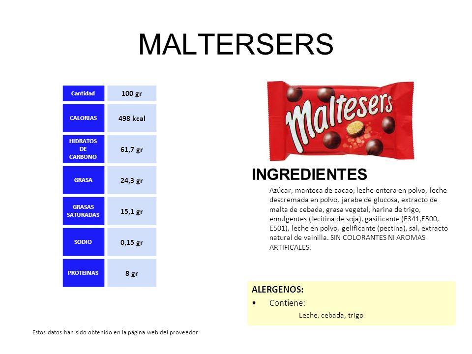 MALTERSERS INGREDIENTES Azúcar, manteca de cacao, leche entera en polvo, leche descremada en polvo, jarabe de glucosa, extracto de malta de cebada, gr
