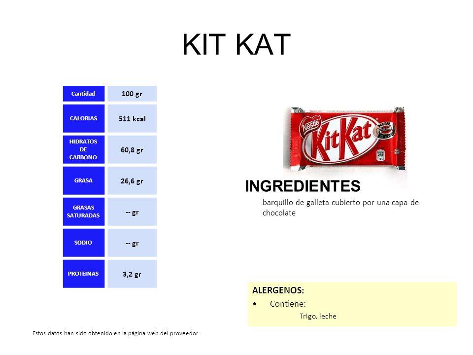 KIT KAT INGREDIENTES barquillo de galleta cubierto por una capa de chocolate ALERGENOS: Contiene: Trigo, leche Cantidad 100 gr CALORIAS 511 kcal HIDRA